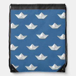 Origami Boats On The Water Pattern Drawstring Bag