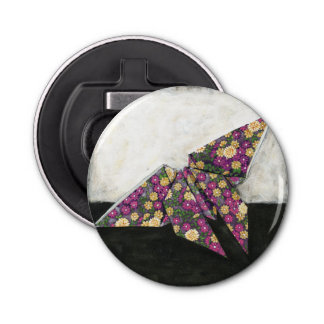 Origami Butterfly on Floral Paper Bottle Opener