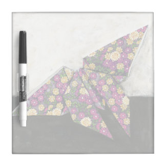 Origami Butterfly on Floral Paper Dry Erase Board