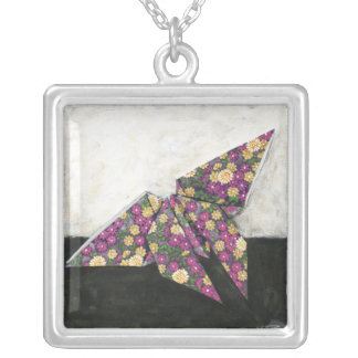 Origami Butterfly on Floral Paper Silver Plated Necklace