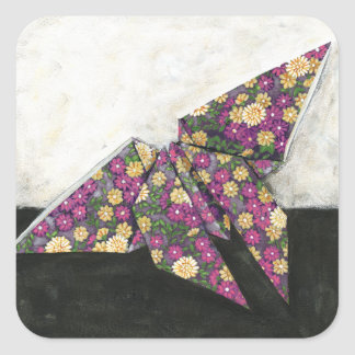 Origami Butterfly on Floral Paper Square Sticker