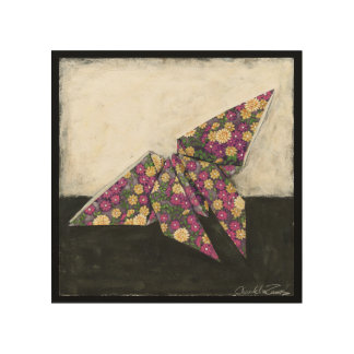 Origami Butterfly on Floral Paper Wood Wall Art