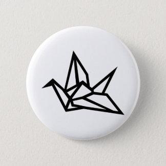 Origami crane 6 cm round badge