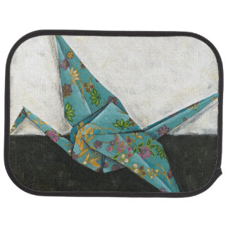 Origami Crane with Floral Designs Car Mat