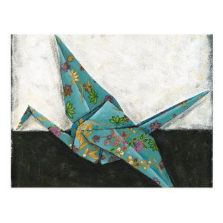 Origami Crane with Floral Designs Postcard