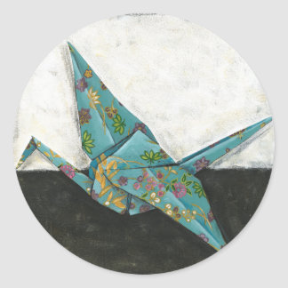 Origami Crane with Floral Designs Round Sticker
