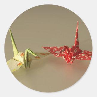 Origami Cranes Classic Round Sticker