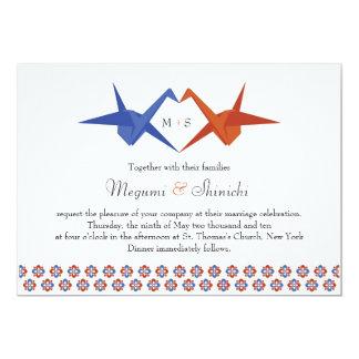 Origami Cranes Wedding (Blue - Burnt Orange) Card
