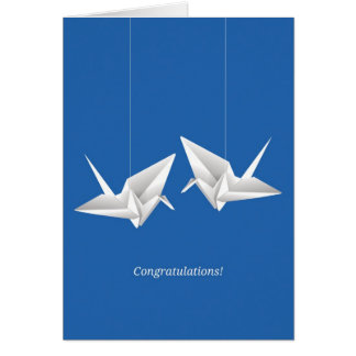 Origami Cranes Wedding Congratulations Card