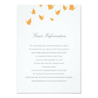 Origami Cranes Wedding Insert 4.5x6.25 Paper Invitation Card