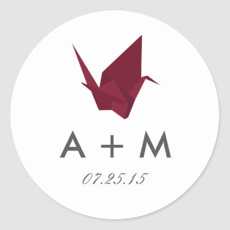 Origami Cranes Wedding Monogram Classic Round Sticker