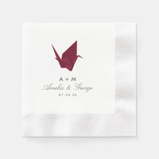 Origami Cranes Wedding Paper Napkins