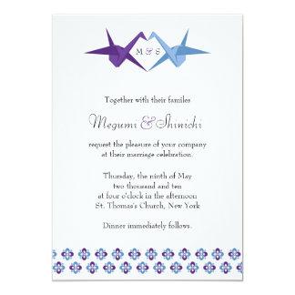 Origami Cranes Wedding (Purple + C Blue) 13 Cm X 18 Cm Invitation Card
