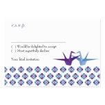 Origami Cranes Wedding (Purple C. Blue) RSVP Card
