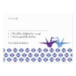 Origami Cranes Wedding (Purple C. Blue) RSVP Card Pack Of Chubby Business Cards