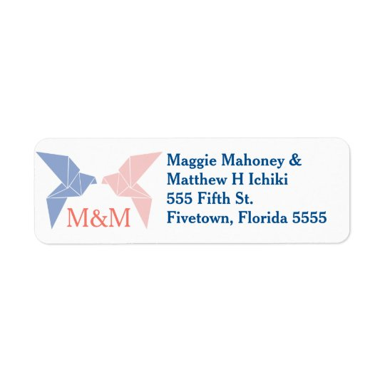 Origami Doves Wedding Return Address Labels