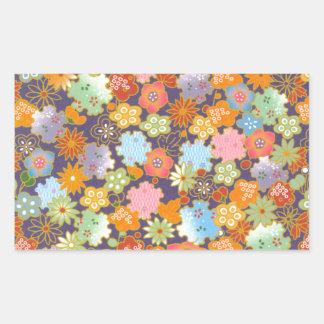 Origami Flowers Rectangular Sticker