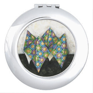 Origami Fortune Teller on Geometric Paper Makeup Mirror