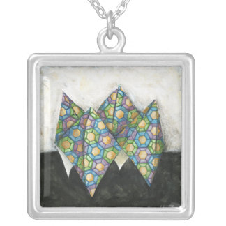 Origami Fortune Teller on Geometric Paper Square Pendant Necklace