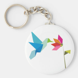 Origami hummingbird and flower key ring