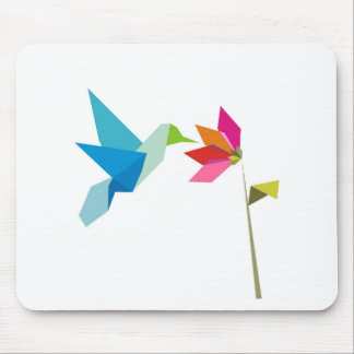 Origami hummingbird and flower mousepads