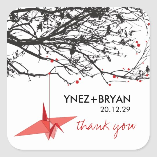 Origami Paper Crane Tree Branch Thank You Wedding