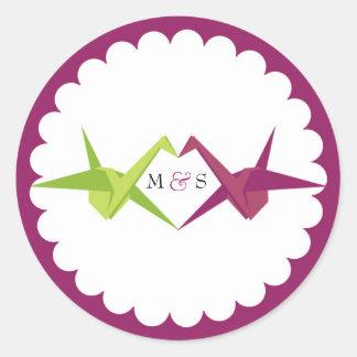 Origami Paper Crane Wedding Classic Round Sticker