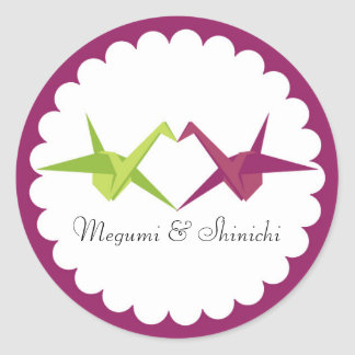 Origami Paper Crane Wedding Round Sticker