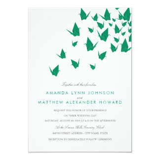 Origami Paper Cranes Wedding 13 Cm X 18 Cm Invitation Card