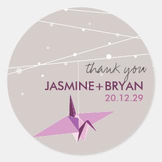 Origami Plum Paper Crane Wedding Lights Thank You Round Sticker