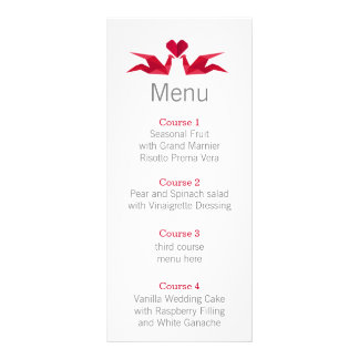 origami red cranes Wedding menu