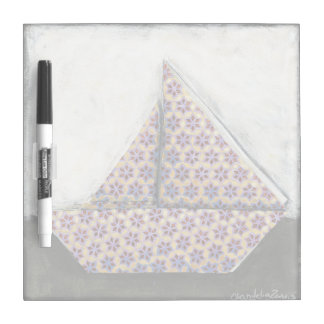 Origami Sailboat on Star Design Paper Dry Erase Board