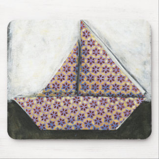 Origami Sailboat on Star Design Paper Mouse Mat