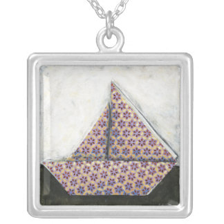 Origami Sailboat on Star Design Paper Silver Plated Necklace