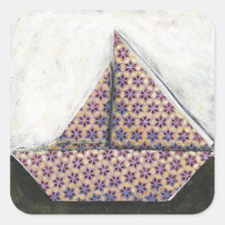 Origami Sailboat on Star Design Paper Square Sticker