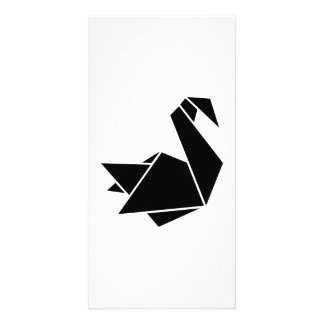 Origami swan photo card template