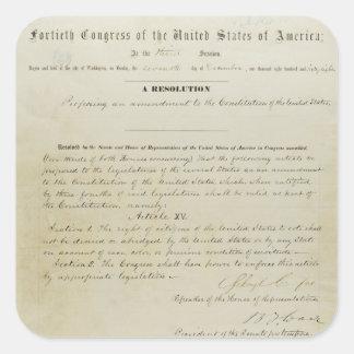 ORIGINAL 15th Amendment U.S. Constitution Square Sticker