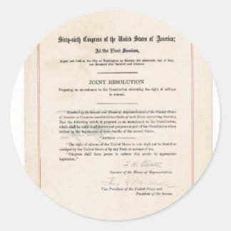 ORIGINAL 19th Amendment U.S. Constitution Round Sticker