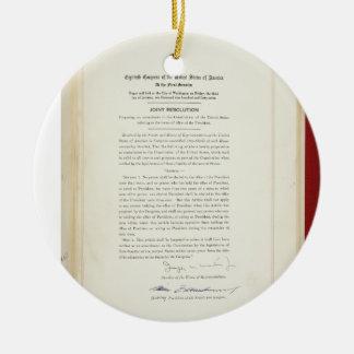 ORIGINAL 22nd Amendment U.S. Constitution Round Ceramic Decoration