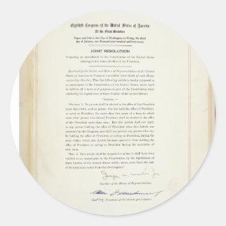 ORIGINAL 22nd Amendment U.S. Constitution Round Sticker