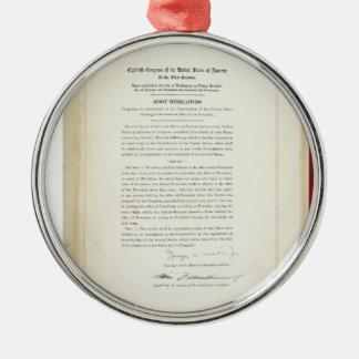 ORIGINAL 22nd Amendment U.S. Constitution Silver-Colored Round Decoration