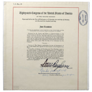 ORIGINAL 23rd Amendment U.S. Constitution Napkins