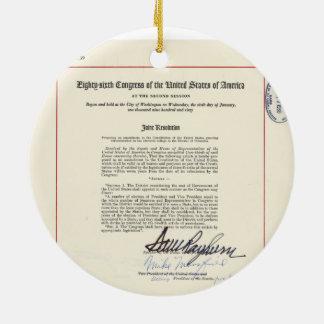 ORIGINAL 23rd Amendment U.S. Constitution Round Ceramic Decoration
