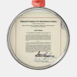 ORIGINAL 23rd Amendment U.S. Constitution Silver-Colored Round Decoration