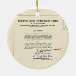 ORIGINAL 24th Amendment U.S. Constitution Round Ceramic Decoration