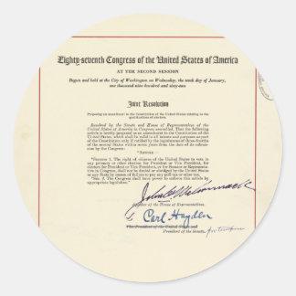 ORIGINAL 24th Amendment U.S. Constitution Round Sticker