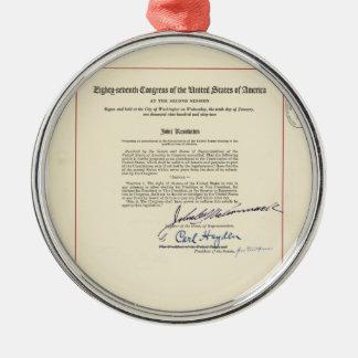 ORIGINAL 24th Amendment U.S. Constitution Silver-Colored Round Decoration