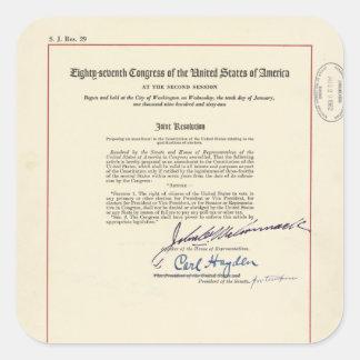 ORIGINAL 24th Amendment U.S. Constitution Square Sticker