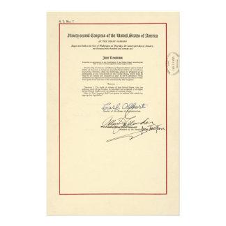 ORIGINAL 26th Amendment U.S. Constitution Personalized Stationery