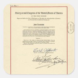 ORIGINAL 26th Amendment U.S. Constitution Square Sticker